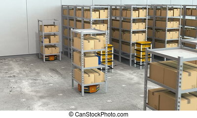 Warehouse robots carry goods and go to charging station...