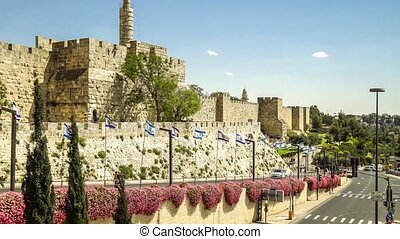 Old city wall of Jerusalem near Jaffa Gate, Israel