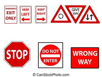 street signs in red - a set of assorted street signs in red