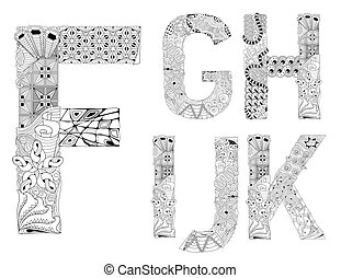 Unusual alphabet doodle style letters on a white background
