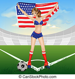 girl USA soccer fan Illustration in vector format