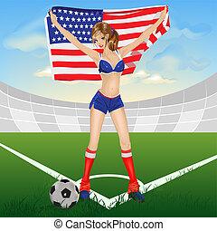 girl USA soccer fan. Illustration in vector format