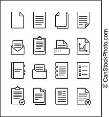 Set of vector outline file management icons, document...