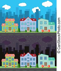 Vector city with cartoon houses and buildings in the day and night