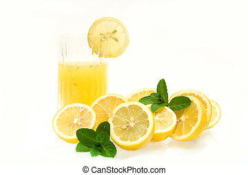 Glass With Lemon Juice - Drinks - Glass with lemon juice,...