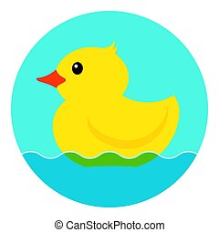 Yellow rubber duck. Vector illustration on a white...