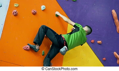 Climber Man Climbing Up - Young Climber Man Climbing Up On...