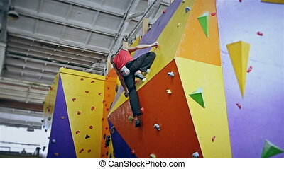Climber On Wall Without Insurance - Climber Man On...