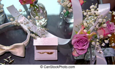wedding accessories, rings and flowers