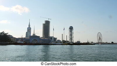 View from sea in the coastal town Batumi