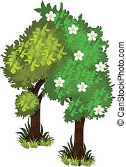 Isometric Cartoon Bushy Green Trees Web Element, Tileset...