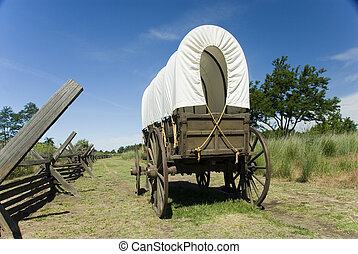 Covered Wagon - Covered wagon on Oregon Trail at Whitman...