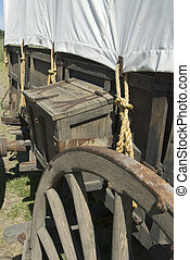 Covered Wagon - Storage box on covered wagon on Oregon Trail...