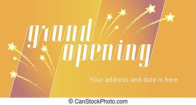 Grand opening vector illustration, background with golden stars