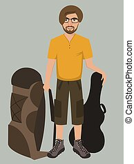 man with rucksack and guitar case