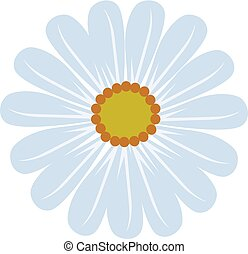 Gentle Daisy Blossom in Balanced Blue and Yellow - Vector...