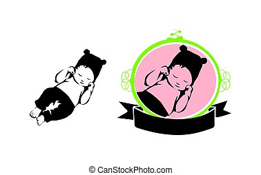 Sleeping Baby Vector Icon - Silhouette in Floral Frame with Ribbon Caption