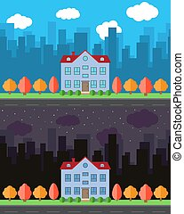 Vector city with cartoon house in the day and night