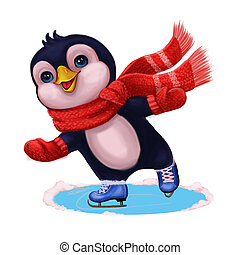 Season's Greetings with Penguin Ice Skating - Merry...