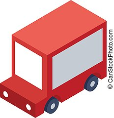 Isometric Delivery Truck Object or Icon - Element for Web, Tileset Map, Game