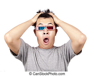 3d glasses and Portrait of shouting shocked man