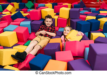 Kids play in child entertainment center