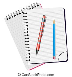 Two notebooks, red pen and blue pencil