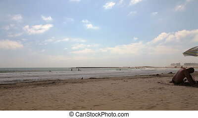 Spanish beaches in Catalonia. - Spain, August 2014 beaches...