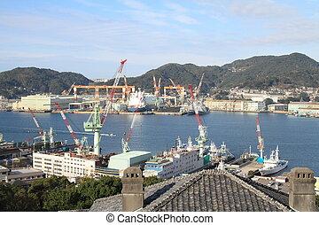 Nagasaki bay in Nagasaki, Japan