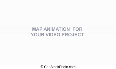 Map animation with map pins and arrows - Isometric map...