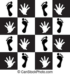 Seamless backdround trase foot and hand Vector - Abstract...