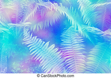 Green leaves of the fern against the background of the...