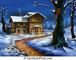 Christmas landscape - A nice cottage in a wonderful...