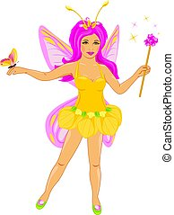 Beautiful fairy with a butterfly. Vector illustration