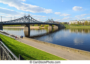 Starovolzhsky bridge across the Volga in Tver, Russia