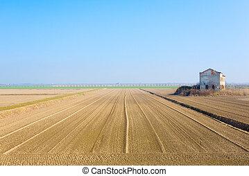 Rural Italian landscape from Po river lagoon.Plowed fields...