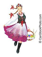 Krakowiak Folk Dancer with Easter Basket Illustration...