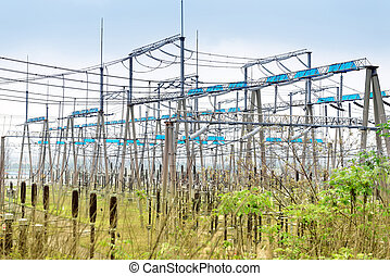 High voltage power substation, modern power facility.