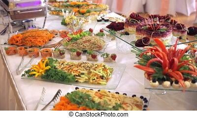 buffet, beautiful salads are on the table
