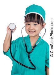 Asian Little Chinese Girl Playing Doctor with a stethoscope...