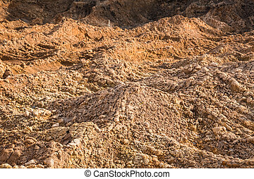 Clay and sand in the quarry. Beautiful unusual background similar to the surface of the planet Mars or the moon