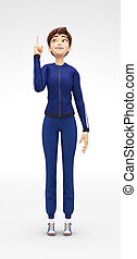 Smiling, Curious and Delighted Jenny - 3D Cartoon Female...