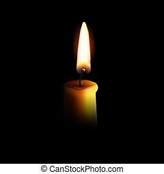 Realistic candle with fire isolated on black background. Vector illustration.