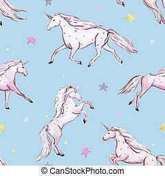 Watercolor unicorn pattern - Beautiful seamless baby pattern...
