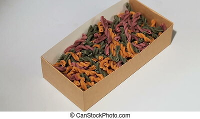 Assorted different kinds of pasta in a paper box