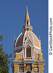 Architecture of Cartagena - Tower of the historic Cathedral...