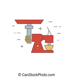 Meat mincer isolated line icon. Kitchen, restaurant...