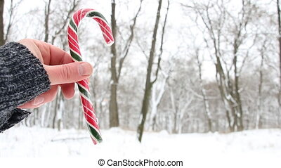 Candy cane in hand. Christmas landscape. Copy space. - Male...