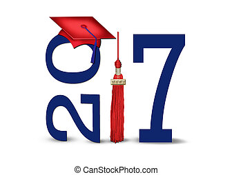 graduation 2017 red and blue - red 2017 graduation cap and...