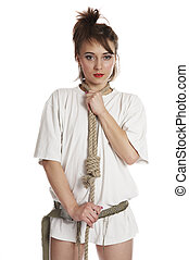 Lashing - Girl with lashing on white isolated background